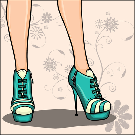 Card or background with elegant woman legs in green ankle boots on floral decorative background. Series of ankle boots spring fashion  collection Vector