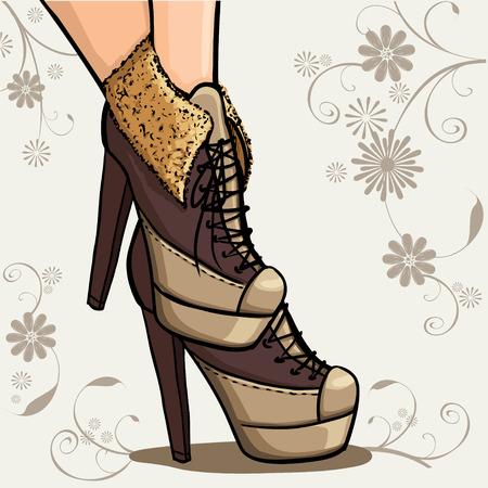 Çiçek dekoratif arka plan üzerinde kahverengi ayak bileği çizmeler şık kadın bacaklar Kart veya arka plan. Ayak bileği çizme Serisi  ilkbahar moda koleksiyonu