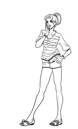 Young slender girl in short skirt talking by cellphone Vector