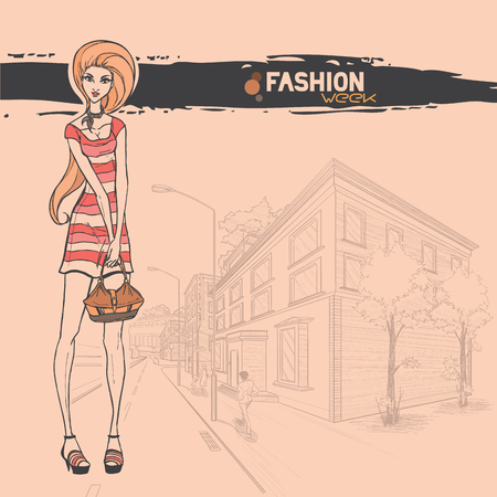 Series Urban fashion. Street panorama and slender glamour beautiful young girl. Vector image.  Illustration