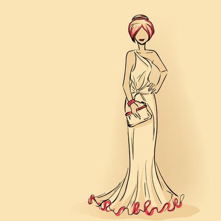 クラッチを保持長いイブニング ドレスでエレガントな女性。シリーズ女性のシルエット