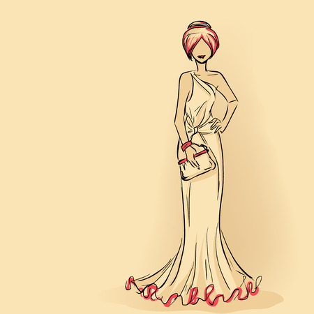 Elegant woman in long evening  dress holding clutch. Series Woman's silhouettes