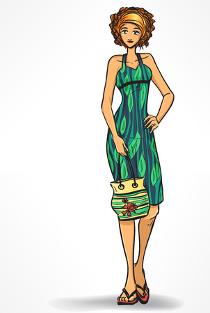 Beach look. Elegant woman in beach dress and with bag. Cartoon isolated Vector