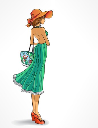 Beach look. Elegant standing woman in hat and  long green dress with bag. Cartoon isolated