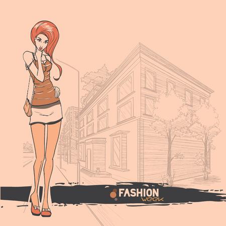 ragazza giovane bella: Serie di moda urbana. Panorama Street e glamour snello giovane e bella ragazza. Immagine vettoriale.