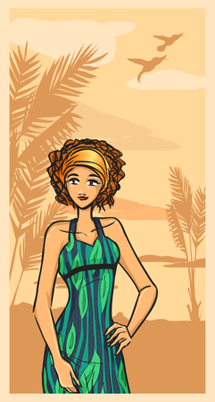 Beautiful brunette girl in green dress on the beach. Booklet series Vector