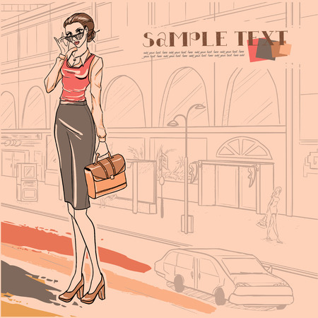 businesswoman skirt: Series Urban fashion. Street panorama and businesswoman with case. Vector image.