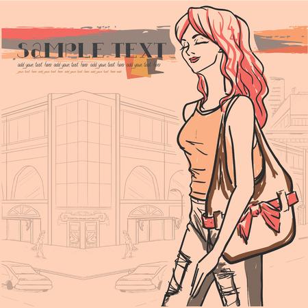 moda urbana: Moda urbana Series. Panorama de la calle e ir elegante mujer con bolsa. Vector de imagen. Vectores
