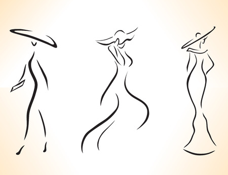 dress sketch: Set of stylized symbolic women drawing by lines. Illustration