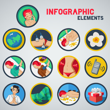 Set of icon with spa treatments. Infographic type.