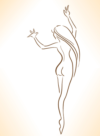 Elegant dancing woman with perfect body. Isolated image.