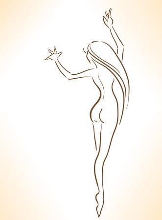 Elegant dansende vrouw met een perfect lichaam. Geïsoleerd beeld. Stock Illustratie