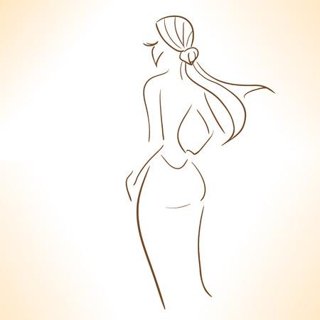 Silhouet van gestileerde meisje in evenig jurk Stock Illustratie