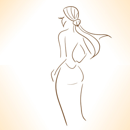 simple girl: Silhouette of stylized  girl in evenig dress