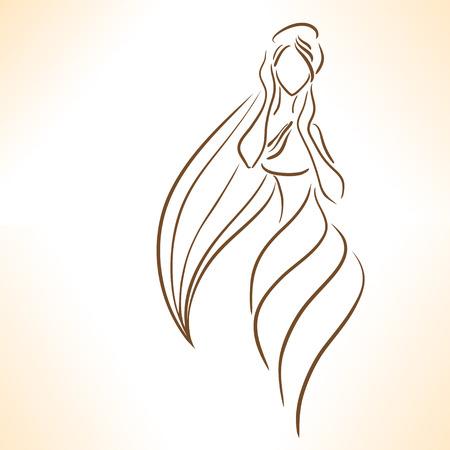 長い髪の様式化された少女のシルエット