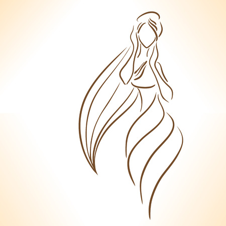 long hair: Silhouette of stylized  girl with long hair