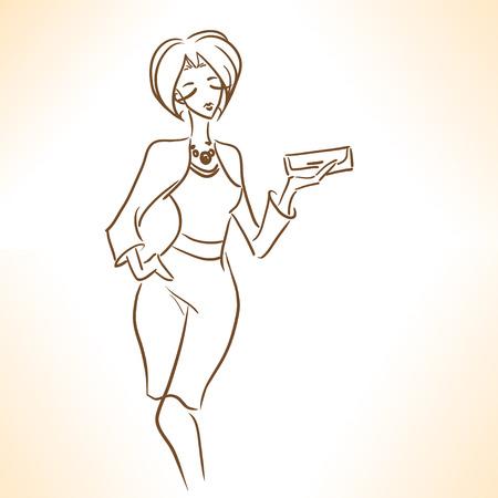 클러치: 클러치 양식에 일치시키는 우아한 매력 여자의 실루엣