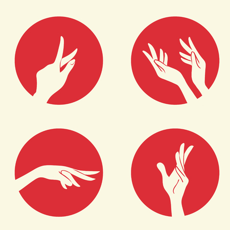 Collection of elegant womens hands Vector