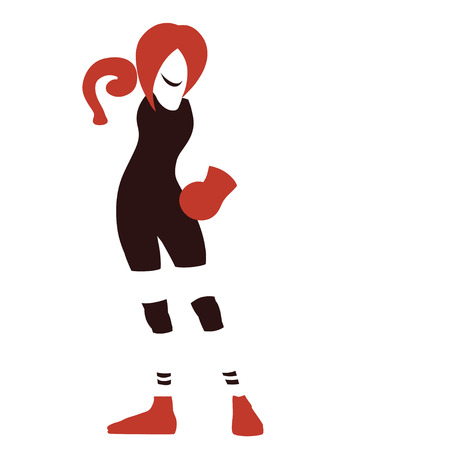 Sign with symbolic standing boxing woman. Isolated vector