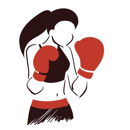 Kaşkol sembolik boks kadınla Simgesi. İzole vektör Illustration