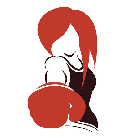 Icon with symbolic boxing woman in boxer-gloves. Isolated vector