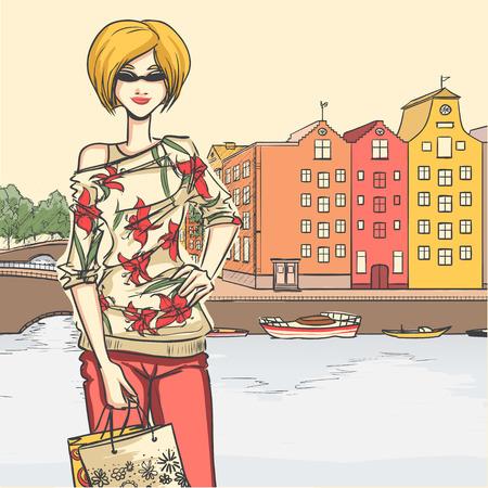 moda urbana: Moda urbana Series. Panorama de la calle y esbelta mujer rubia glamour despu�s de las compras. estructuras arquitect�nicas, puentes