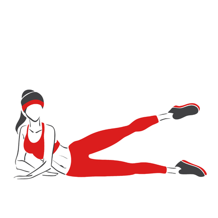 sweatsuit: Woman practises fitness.Symbolical vector image