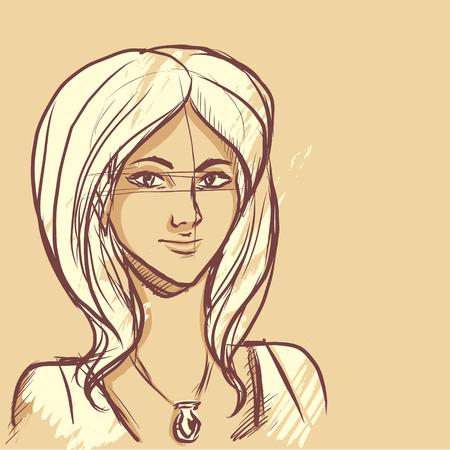 Sarışın saçlı sevimli genç kız. Kolye boynunu süslüyor. Illustration