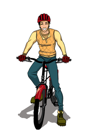 goes: The young sports guy goes by bicycle. Isolated vector Illustration