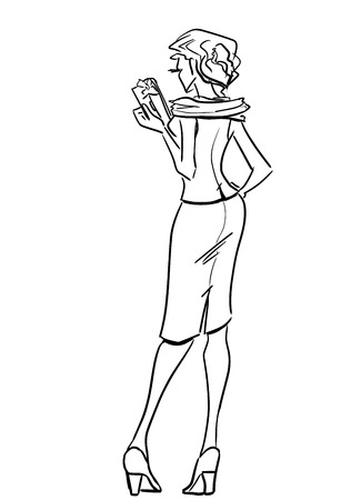 Elegant lady standing back and holding clutch Vector