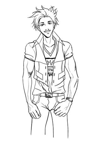 Chico joven y fuerte atractivo en camisa y pantalones Foto de archivo - 28113595