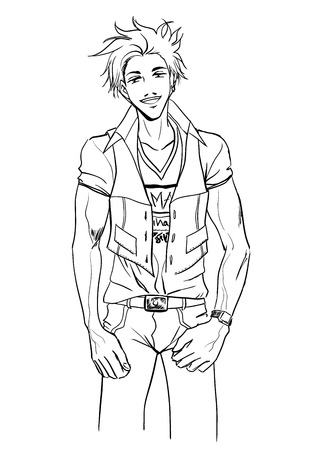 Sexy strong young guy in shirt and trousers Illustration