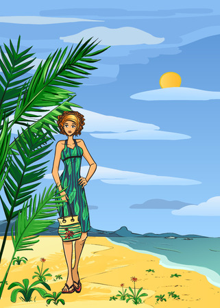 Young woman in green dress on the beach. Vector