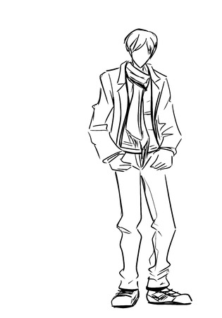 standing man: Young standing man in jacket and long scarf Illustration