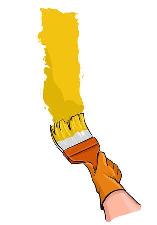 手袋で手ブラシ塗料壁と人間