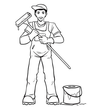 The young smiling worker in blue overalls holds the paint roller in hand. Vector cartoon. Vector