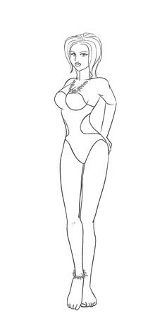 Elegant sexy girl with big breast  Illustration