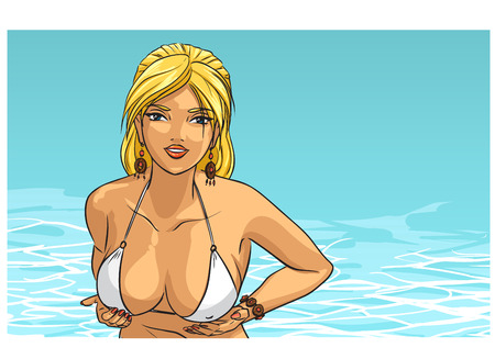 big breast: Elegant sexy girl with big breast in the ocean Illustration