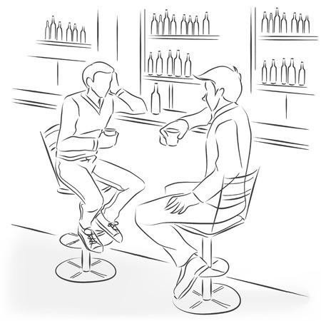 görüntü: İki erkek bir bar sayacı barda oturup. Onlar konuşuyor ve alkol kokteyller ve güçlü içecekler içiyoruz. Vektör monokrom çizgilerle çizilmiş çizim. Çizim