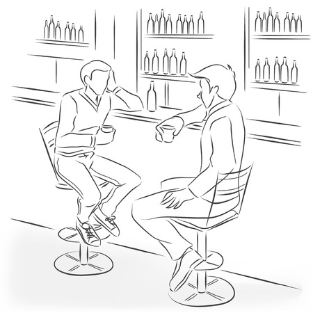 leisure time: Two men sit in the bar at a bar counter. Theyre talking and drinking alcohol cocktails and strong drinks. Vector monochrome drawing drawn by the lines. Illustration