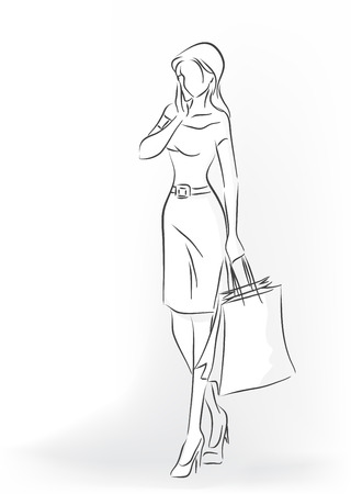 spending full: Standing woman with shopping bag in full length. Woman are in dress and court shoes. She talks by her cell phone. Vector monochrome image drawn by lines