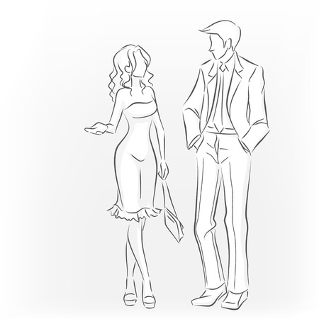Standing elegant woman and man in suit in full length. They're talking and walking. It's like a meeting. Monochrome vector image drawn by lines