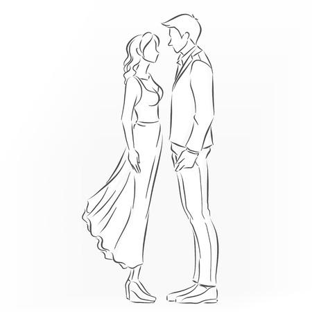 dibujos lineales: el hombre y la mujer est�n de pie. Parecen una pareja rom�ntica que quiere besar. Perfil de imagen. Vector blanco y negro de dibujo dibujado por l�nea
