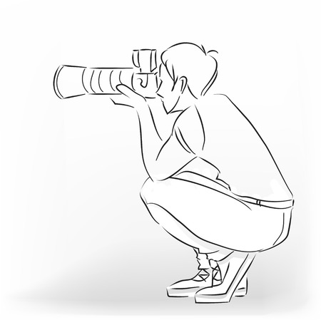 The young photographer man squats and photographs by means of the professional camera. Vector modern black and white  image drawing by lines. Stock Illustratie