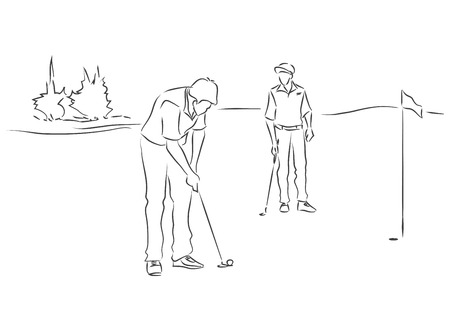 Two young men are playing golf. Black and white image drawing by lines. Vector