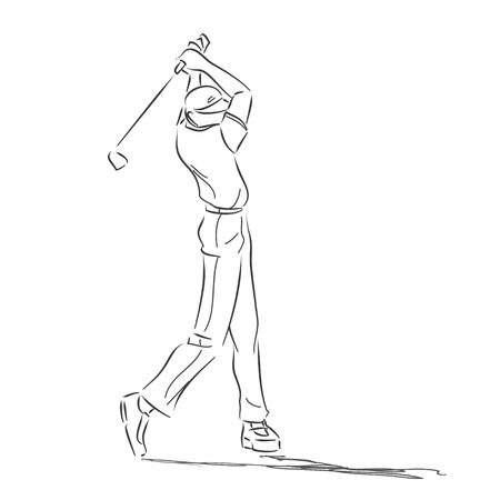 The young sporty man plays golf. Symbolical drawing with golfer in movement drawn by means of lines. Monochrome vector image