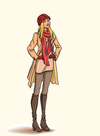 Standing  slender young beautiful blonde in full length. Girl is dressed in autumn clothes - dress, raincoat, cap, gloves, boots. Isolated color cartoon vector. 矢量图像