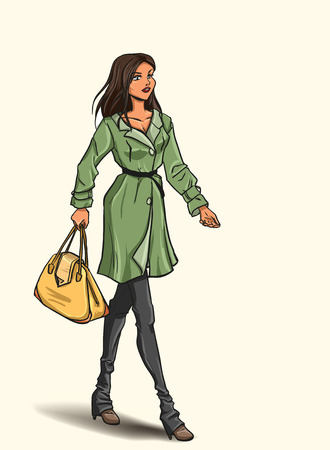 Going slender young beautiful brunette with bag in full length. Girl is dressed in autumn clothes - dress, raincoat, jeans. Isolated color cartoon vector drawing.  Vector