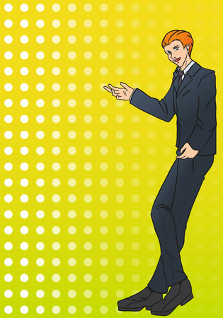 certitude: The young attractive  businessman stands and shows by own hand on object. The man is dressed in a business suit with a tie. Vector color drawing