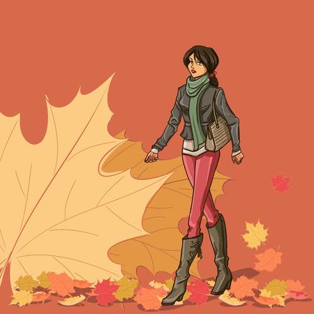 Tam uzunlukta çanta ile ince genç güzel esmer yürüyorum. Elbise, ceket, kot pantolon, bot - Kız sonbahar kıyafetlerini giymiş. Sonbahar yaprakları ile Arkaplan. Renkli karikatür vektör.